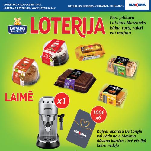 Kūkas, tortes, ruletes, mafini! loterija Maxima veikalos