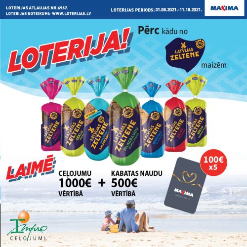 LATVIJAS ZELTENE loterija Maxima veikalos